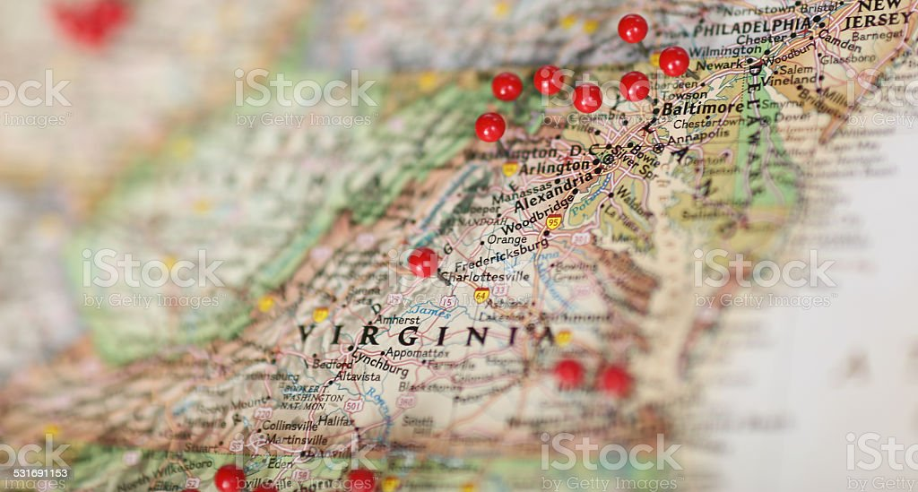 Map Of Usa With Pins.Pins In Map Virginia Area Of United States Stock Photo More
