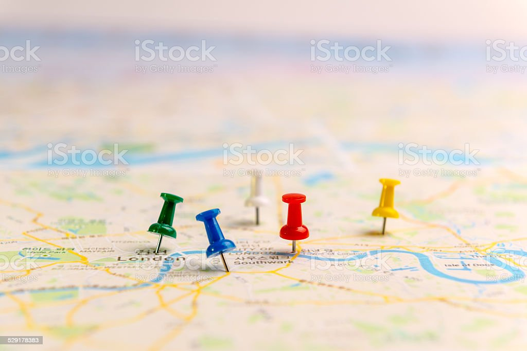 Pins marking location on map. stock photo
