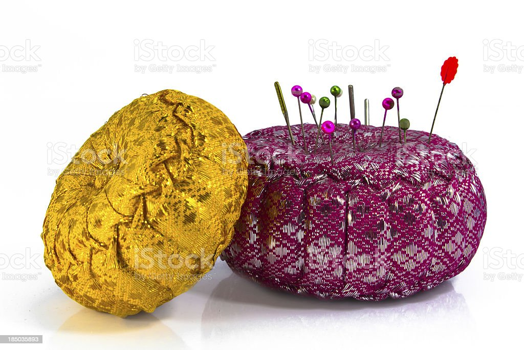 Pins on a pillow isolated royalty-free stock photo