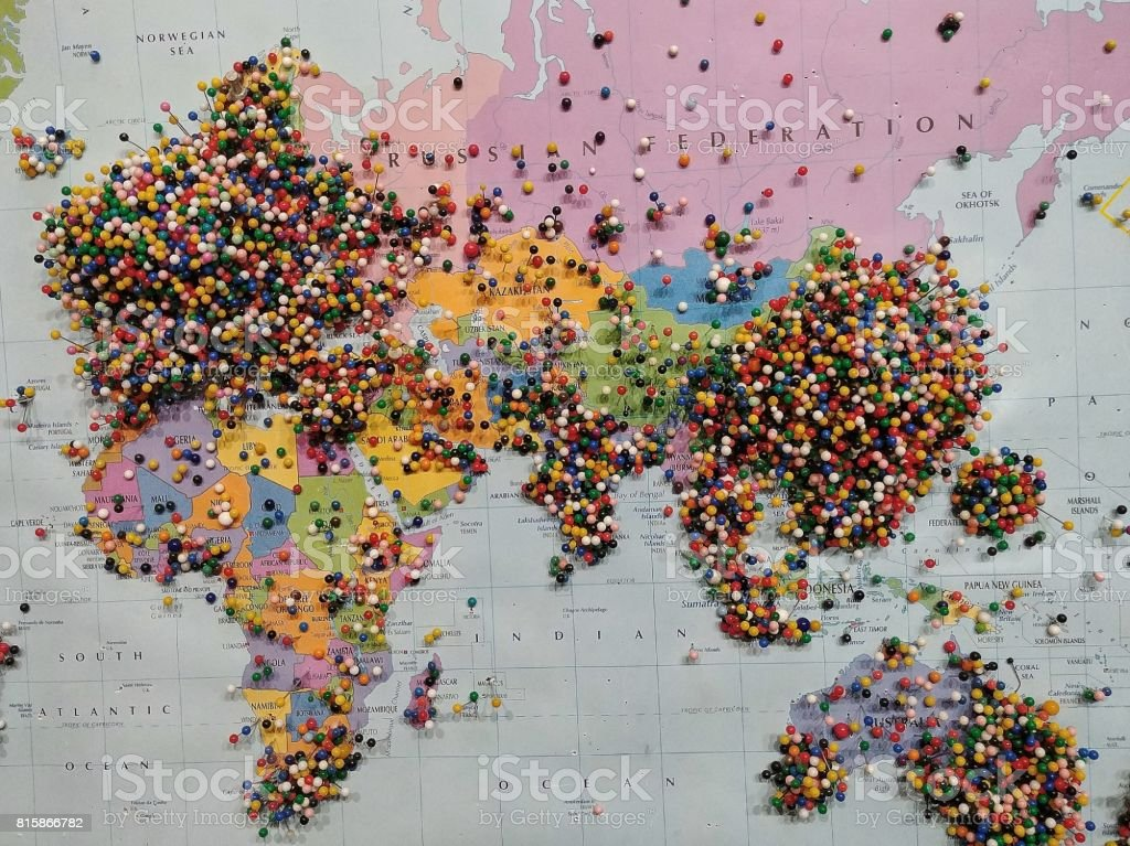 Map Of Africa Asia And Europe.Pins On Travel Visitors Map Europe Africa Asia Austrailia Stock