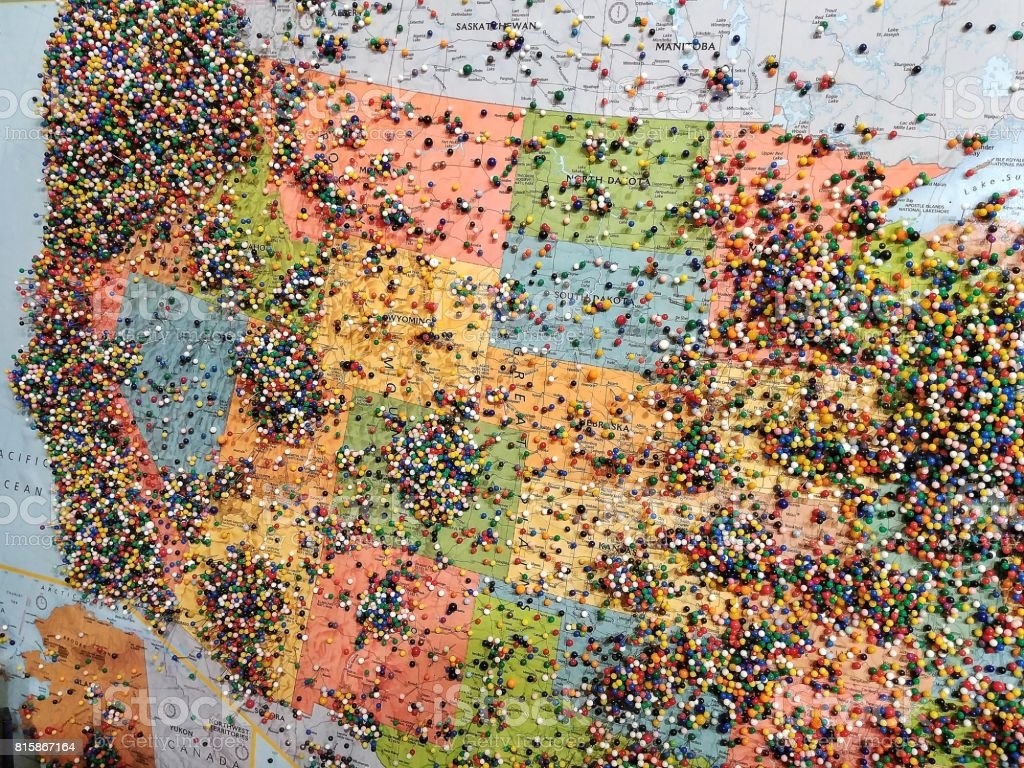 pins on travel visitors map united states of america stock photo