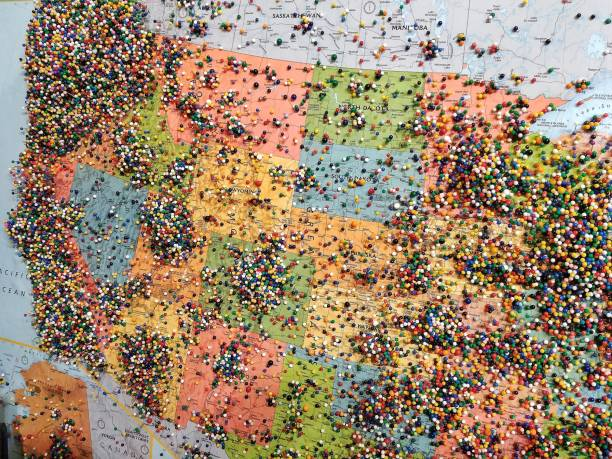 Pins on Travel Visitors Map, United States of America stock photo