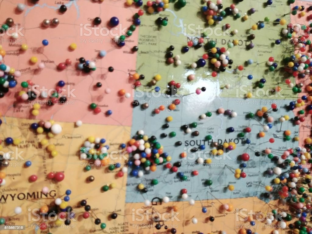 Pins on Travel Visitors Map, United States of America, stock photo