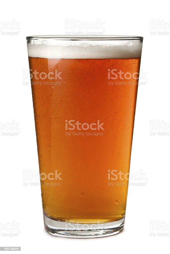 Pint Beer Glass Isolated on White Background royalty-free stock photo