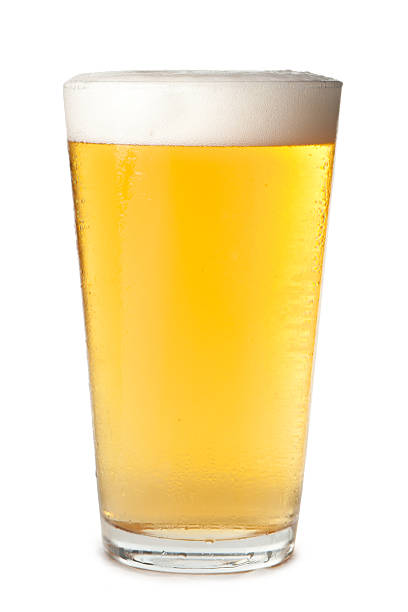 Pint Beer Glass Isolated on White Background stock photo