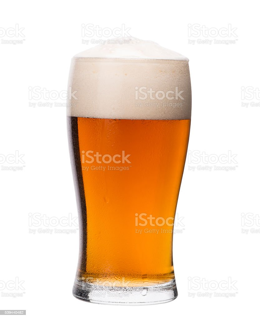 Pint glass of red lager beer. Home brewing. stock photo