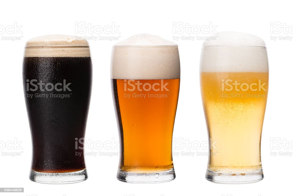 Pint glasses of different types of beer. Home brewing. stock photo
