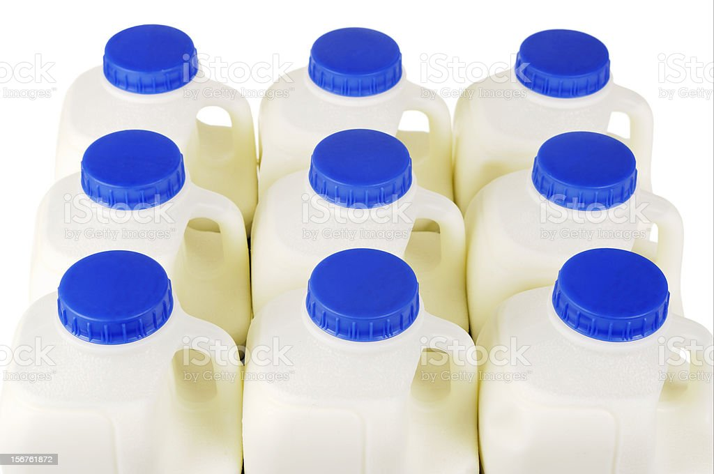 Pint Milk Containers Arranged In Rows stock photo