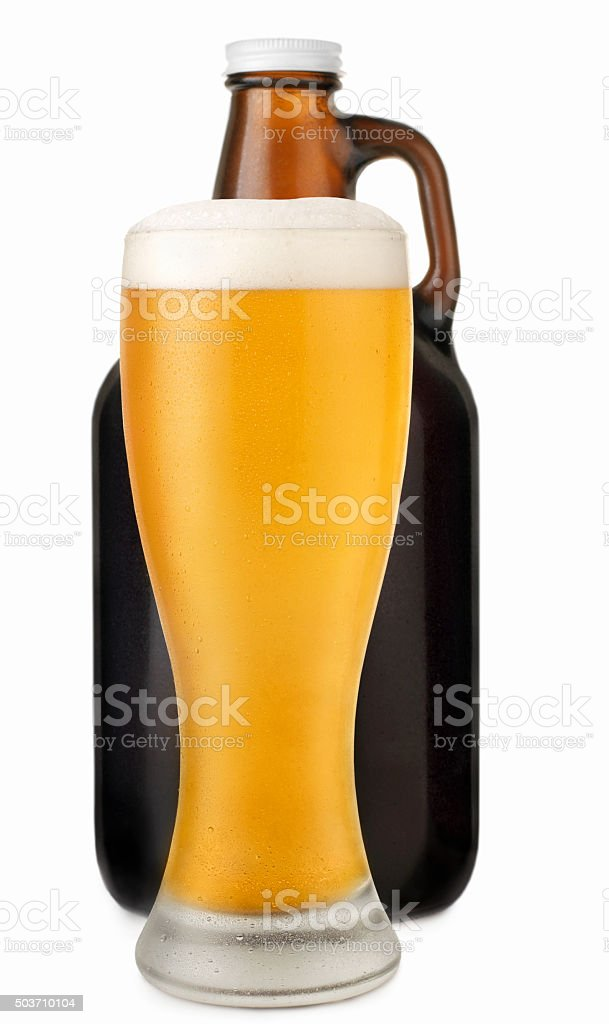Pint of Ale with a Beer Growler stock photo