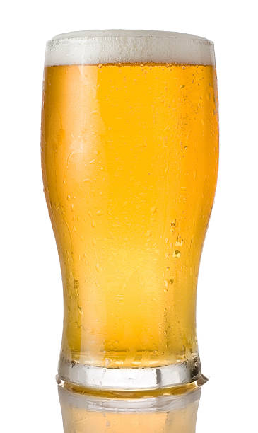 Pint of beer on a white background Ice cold pint of beer in a tulip style pint glass. Isolated on white. beer glass stock pictures, royalty-free photos & images