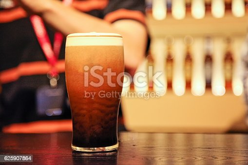 Pint of beer at the draught counter