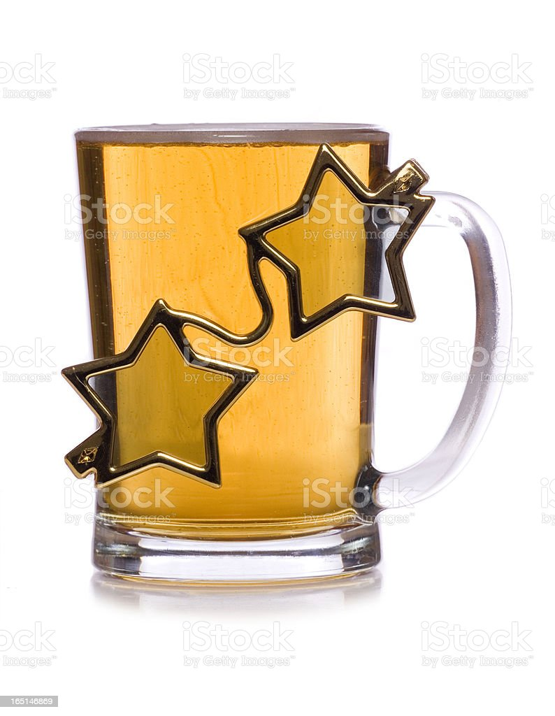 pint of beer with star glasses cut out royalty-free stock photo