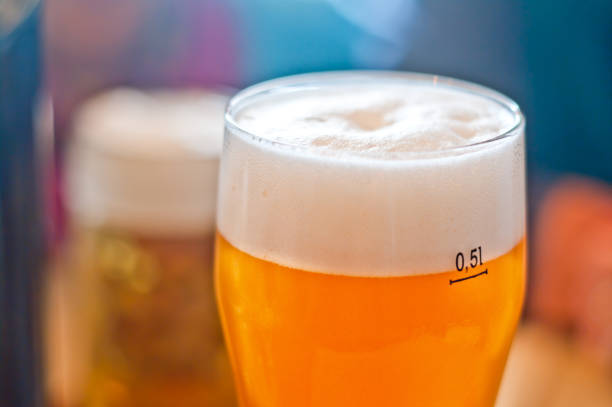 pint of cold beer stock photo