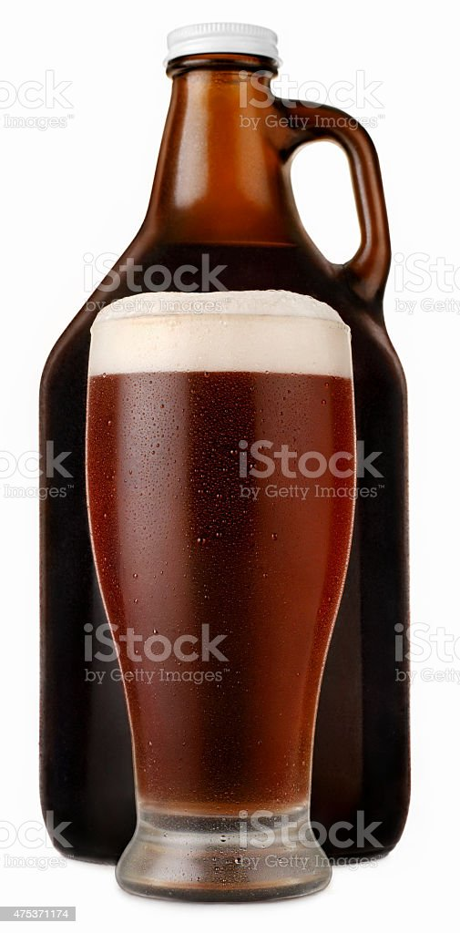 Pint of Dark Beer with a Beer Growler stock photo
