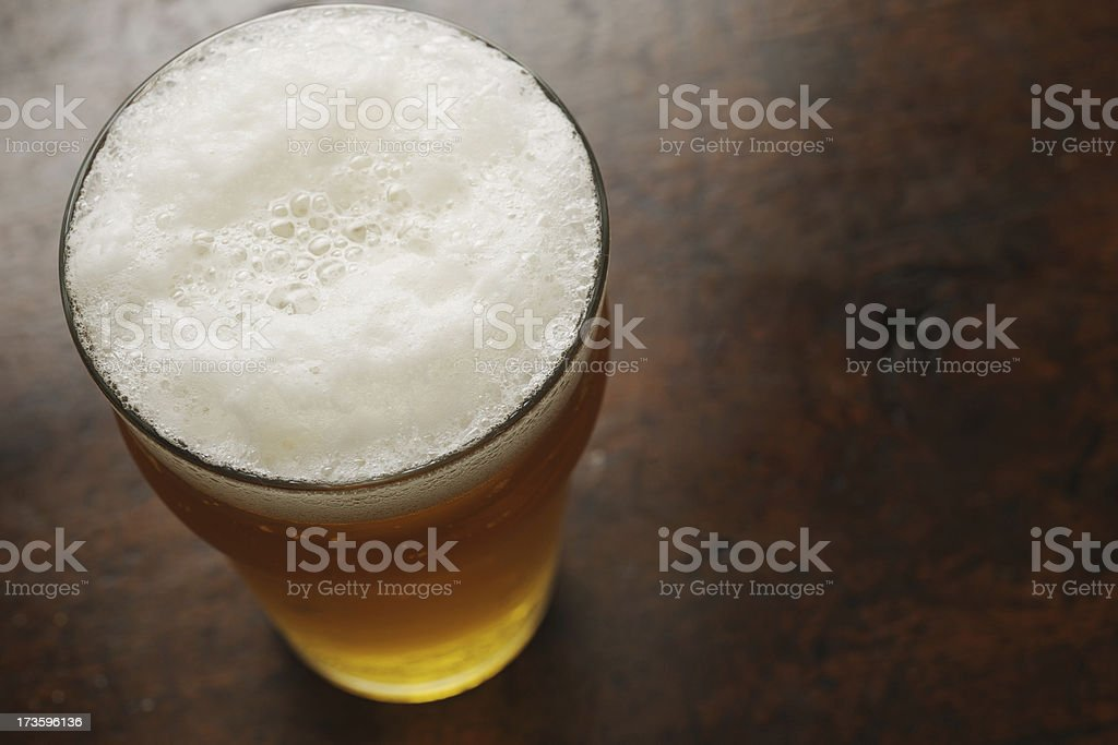 pint of lager from above stock photo