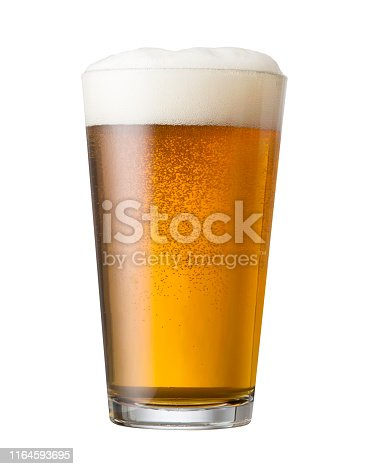 Craft beer draft pour in a glass shaker pint glass.