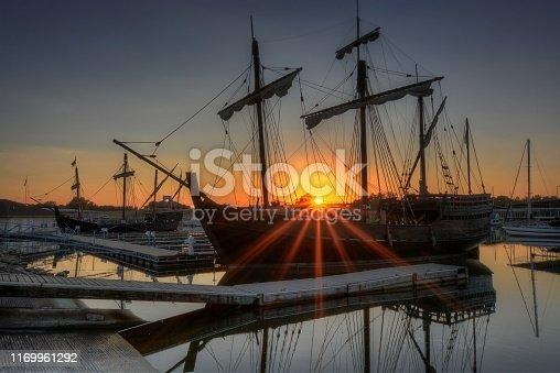 Tall ship at sunset.