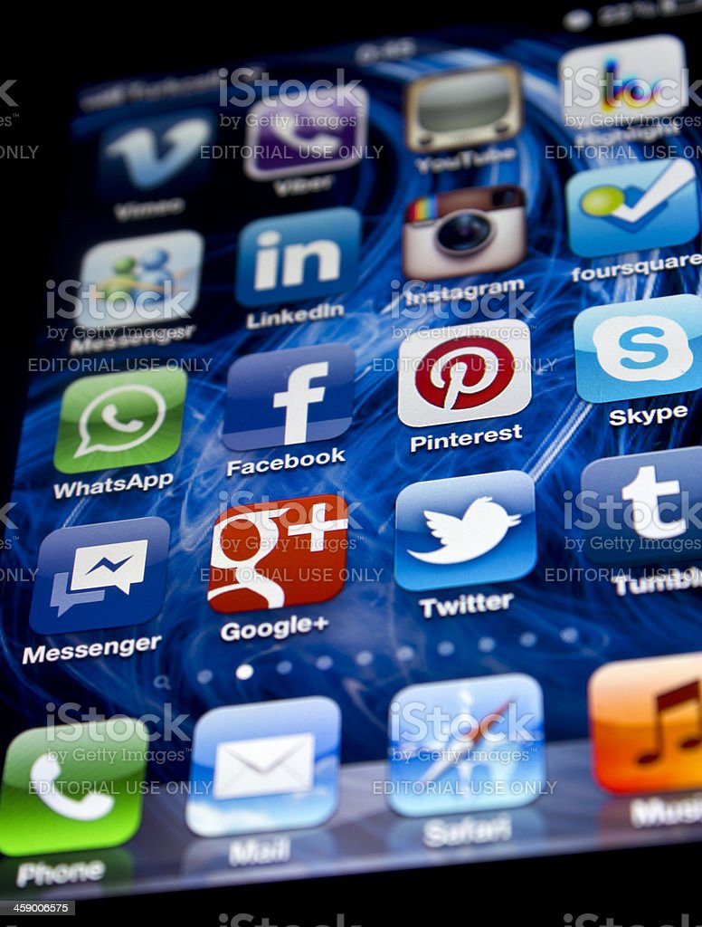 Pinterest and popular social media apps on Iphone 4S royalty-free stock photo