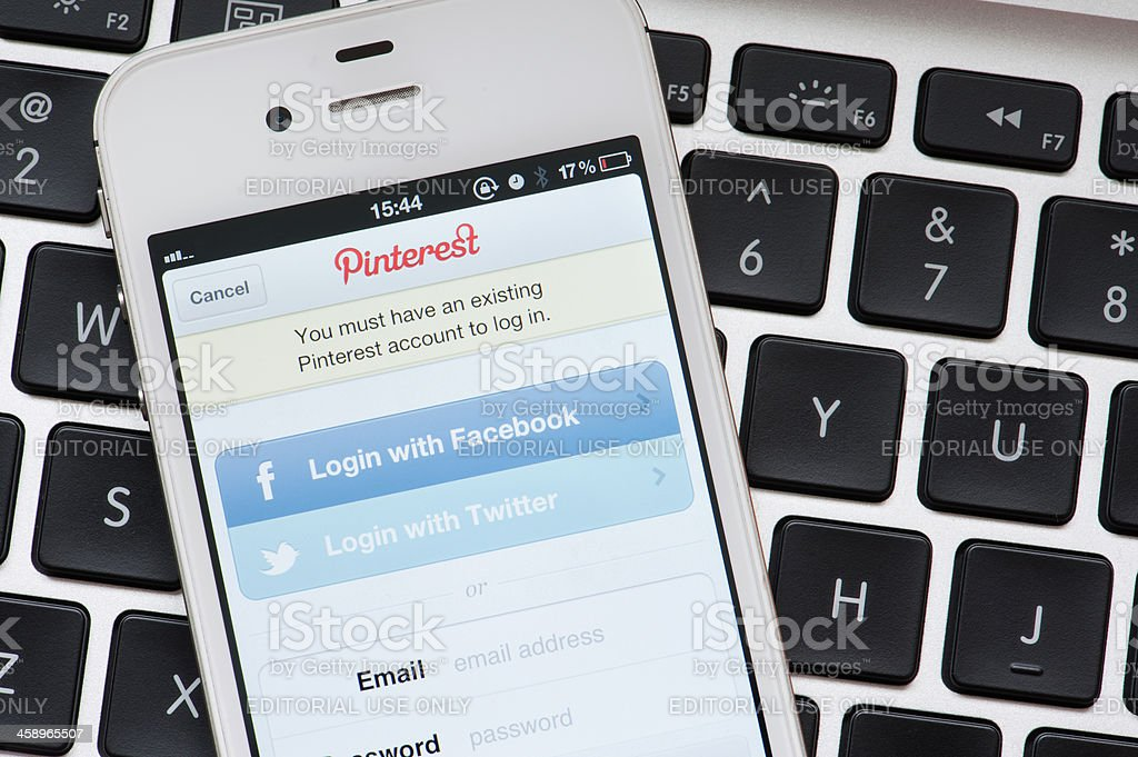 Pinterest app on iPhone screen royalty-free stock photo