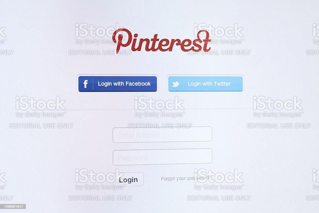 Pinterest Homepage login stock photo