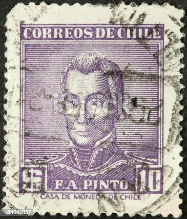 istock F A Pinto 19th century Chilean general on postage stamp 184641337