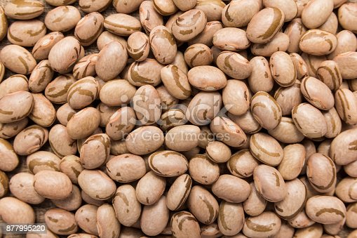 istock Pinto Bean legume. Closeup of grains, background use. 877995220