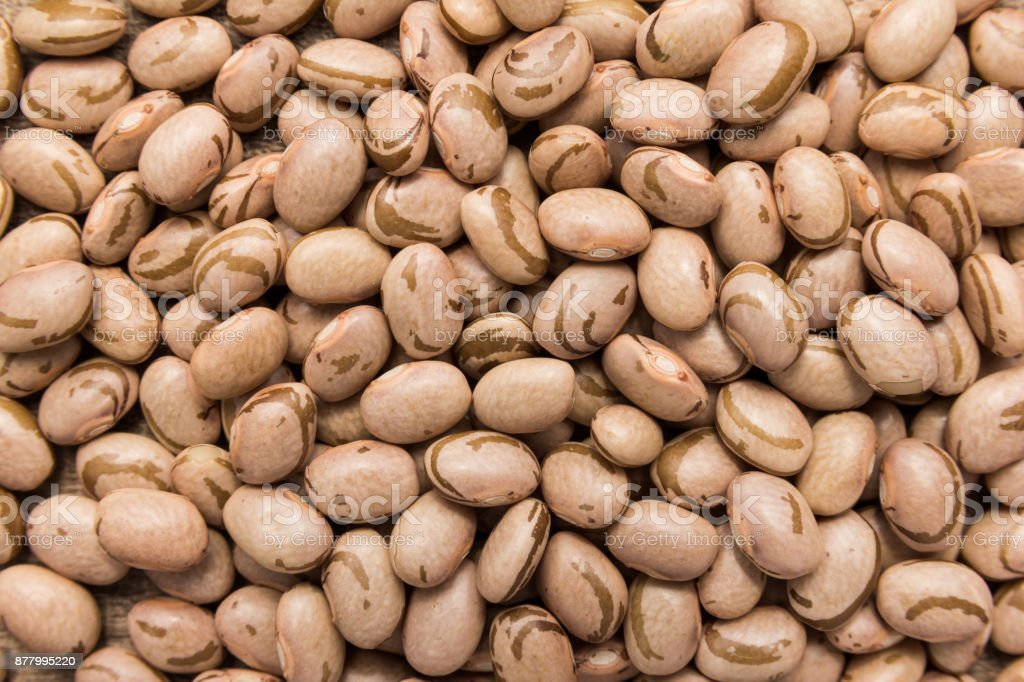 Pinto Bean legume. Closeup of grains, background use. stock photo