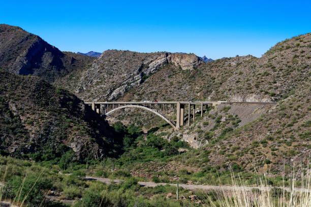 Pinto Creek Bridge along the Gila-Pinal Scenic Road, Arizona stock photo