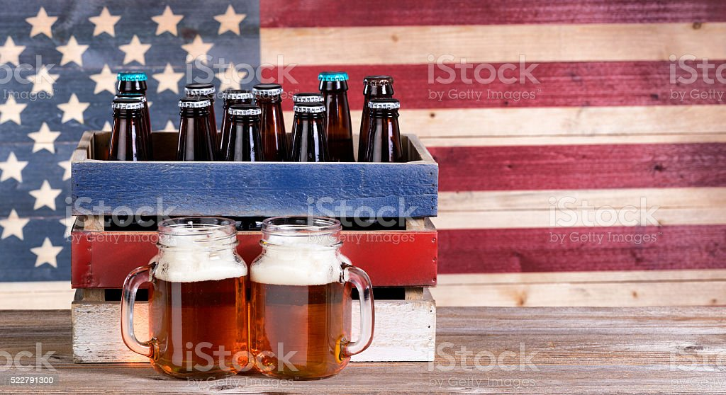 Pints of beer for the holiday parties stock photo