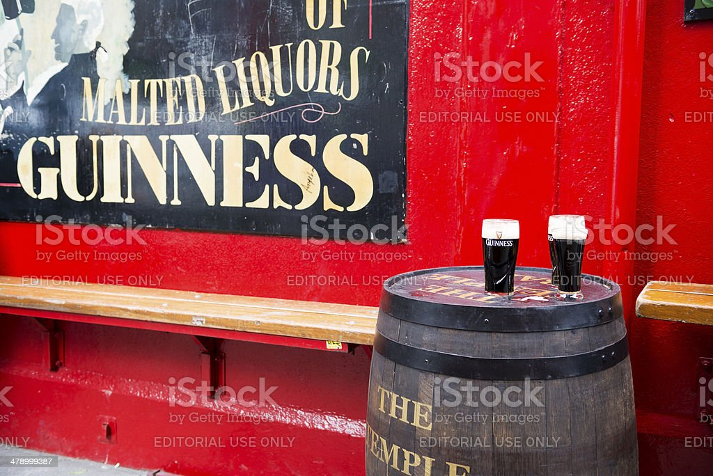 Pints of Guinnesss at Temple Bar Dublin stock photo