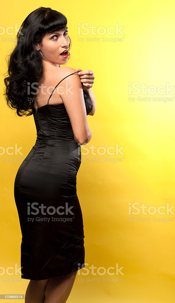 Pinup Female Black And Yellow With Copyspace stock photo