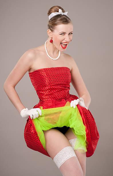 pin-up girl. american stil - rock n roll kleider stock-fotos und bilder