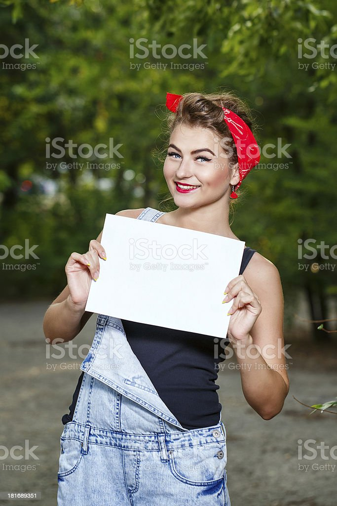 Pin-up girl and copyspace stock photo