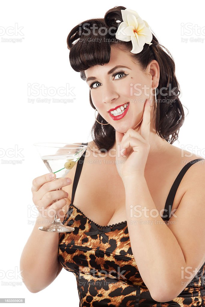 Pin-up girl: beautiful brunette sexy woman with retro hairstyle royalty-free stock photo