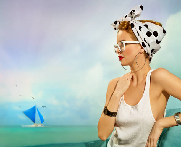 pin-up girl by the sea - pin up girl stock pictures, royalty-free photos & images