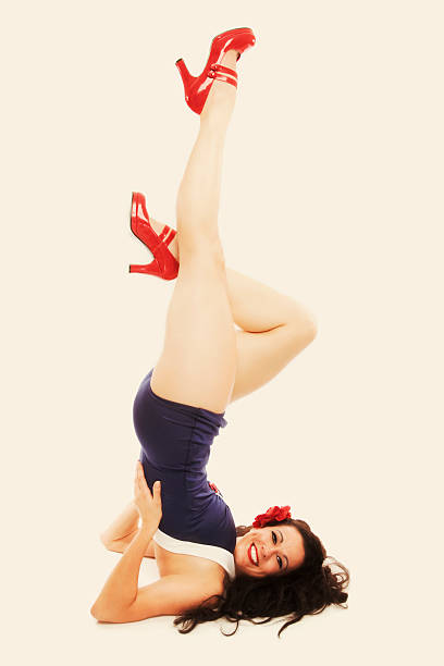pin-up girl: classic vintage 1950's beautiful woman - pin up girl stock pictures, royalty-free photos & images