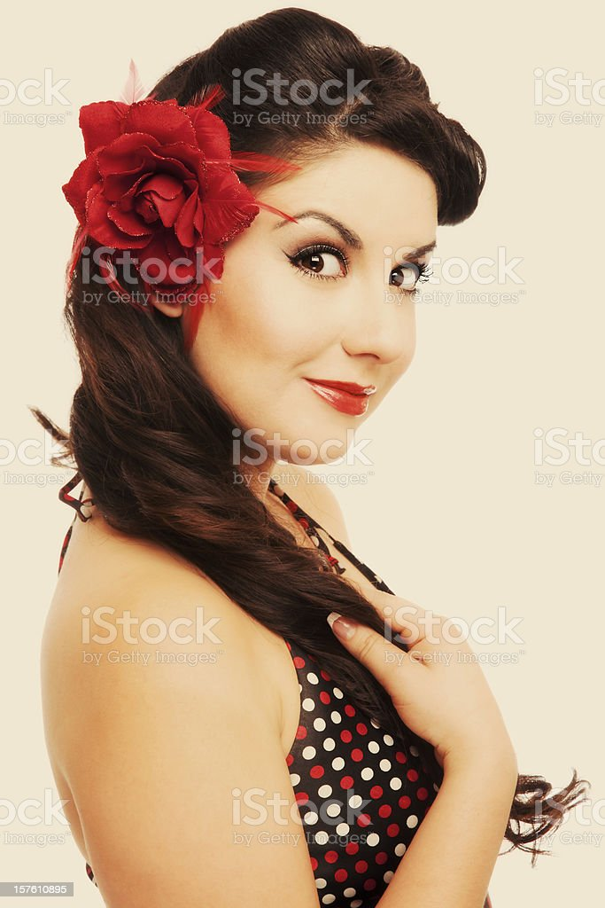 Pinup Girl Classic Vintage Beautiful Woman With Retro Hairstyle