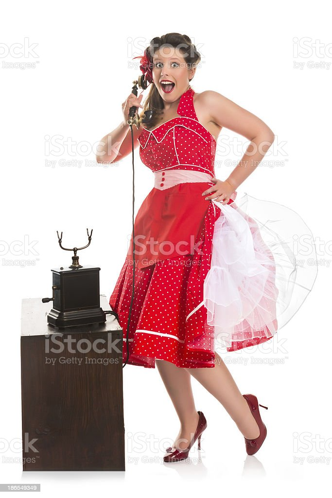 Pin-up girl on the phone royalty-free stock photo