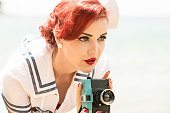 Pin-up girl photographing