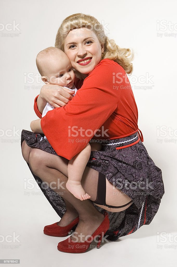 pin-up girl with baby royalty-free stock photo