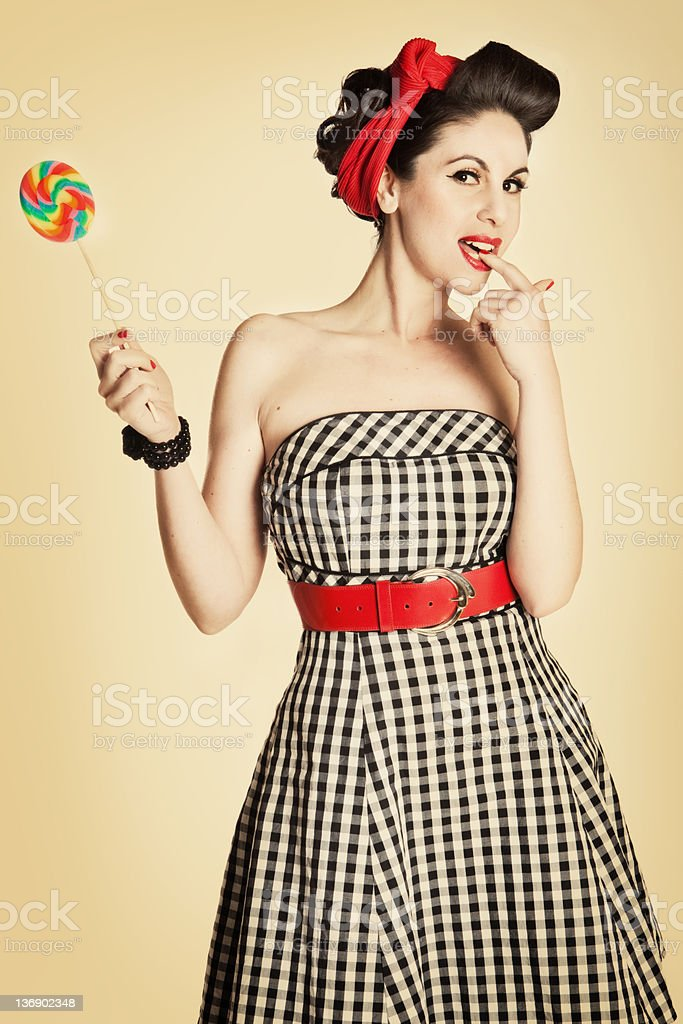 Pinup girl with Lolipop stock photo