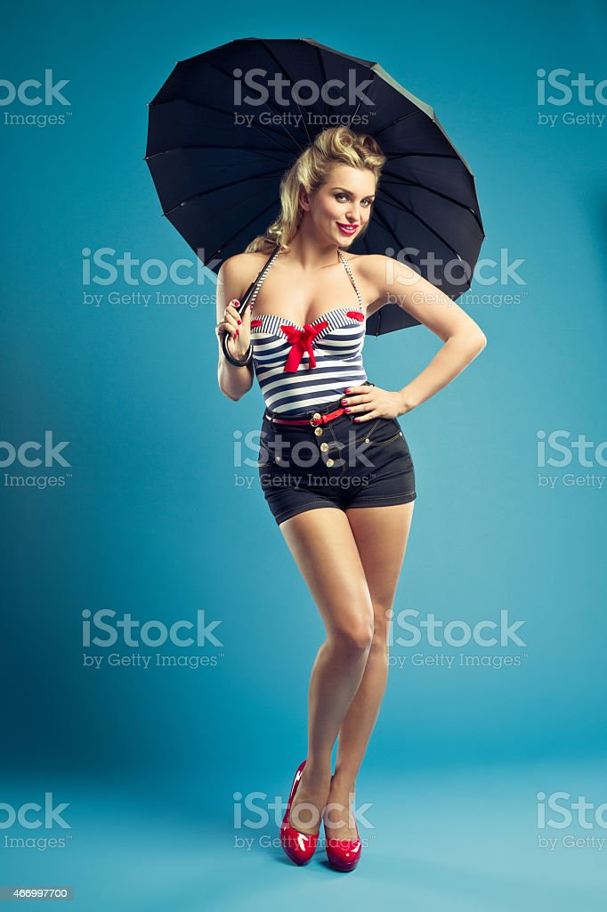 Pin-up style sailor blonde woman stock photo