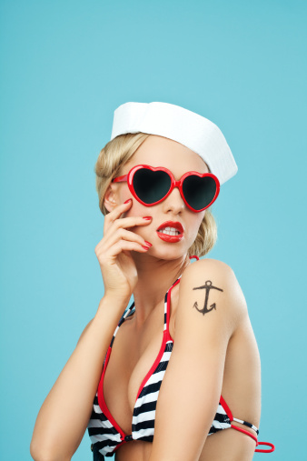Pinup Style Sailor Woman With Sunglasses Stock Photo - Download Image Now