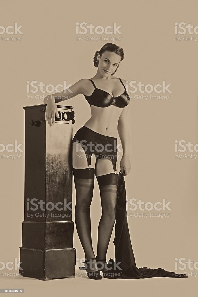 Pin-up Style. Stereo unit stock photo