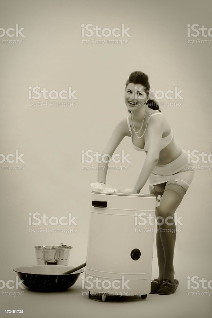 Pin-up style. The Big Wash! royalty-free stock photo