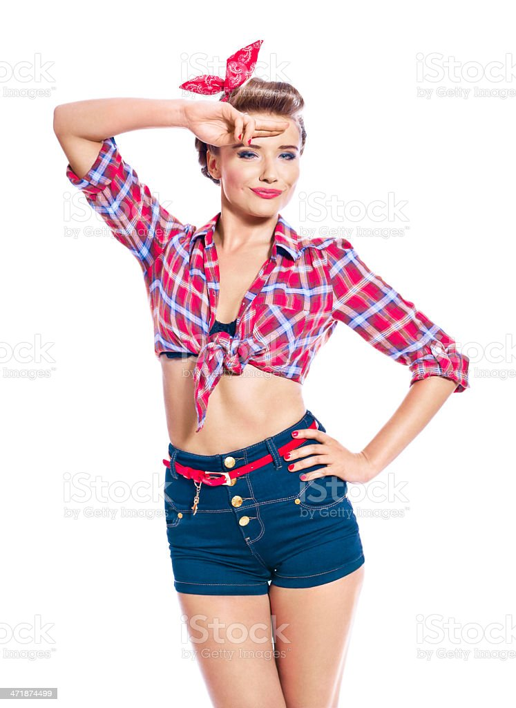 Pinup style woman saluting stock photo more pictures of 20 24 years istock - Pin up style ...