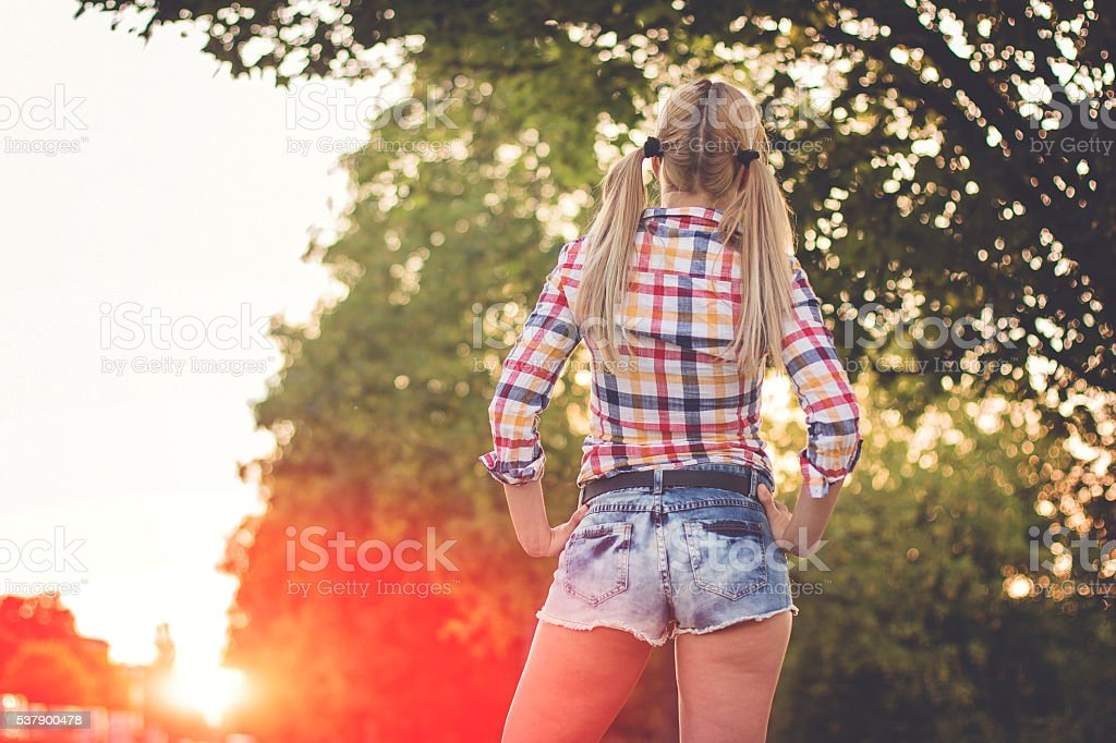 Pin-up woman outdoors stock photo