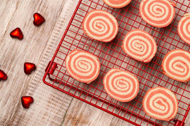 Pinwheel Baked Valentine's Day Cookies on Rack stock photo