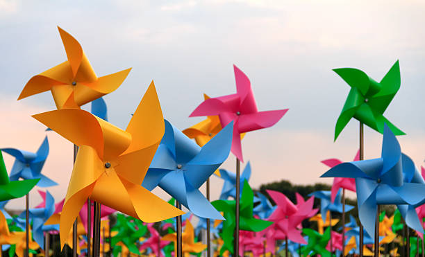 Pinwheels Colorful pinwheels weather vane stock pictures, royalty-free photos & images