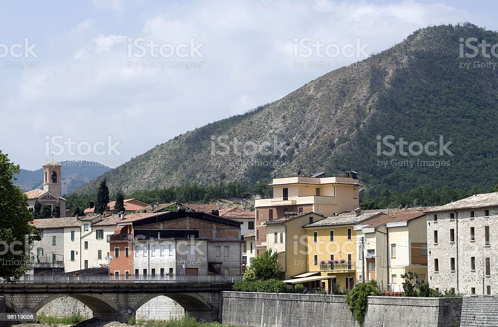 Piobbico (Marches, Italy), modern part of the town royalty-free stock photo